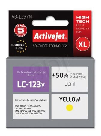 Tusz Activejet AB-123YN (Brother LC123Y/121Y) supreme 10ml yellow