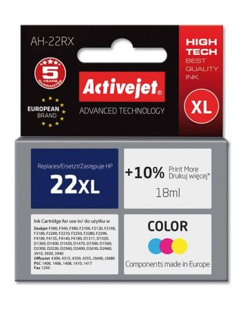 Tusz Activejet AH-22RX (Hewlett Packard HP 22XL C9352A) premium 18ml kolor