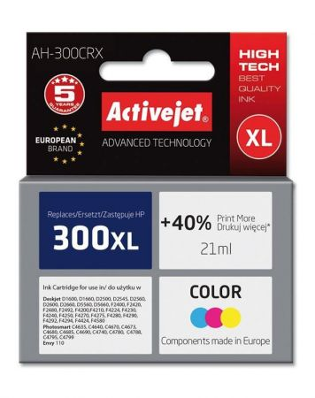 Tusz Activejet AH-300CRX (Hewlett Packard HP 300XL CC644EE) premium 21ml tr