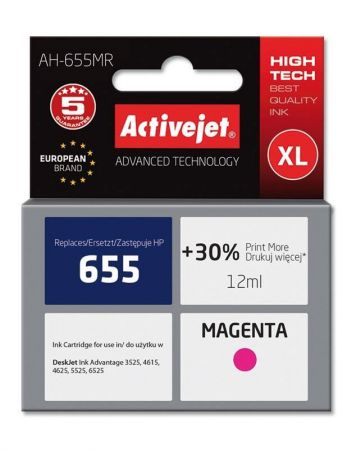 Tusz Activejet AH-655MR (Hewlett Packard HP 655 CZ111AE) premium 12ml magenta Chip