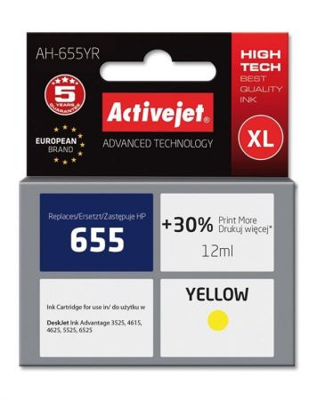 Tusz Activejet AH-655YR (Hewlett Packard HP 655 CZ112AE) premium 12ml yellow Chip