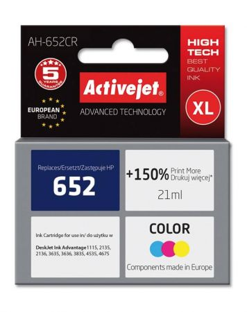 Tusz Activejet AH-652CR (Hewlett Packard HP 652 F6V24AE) premium 21ml tr